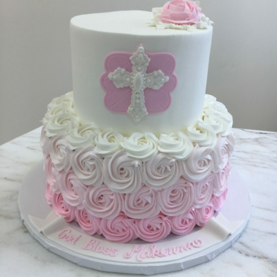 2 Tier Pink Ombre Rosettes
