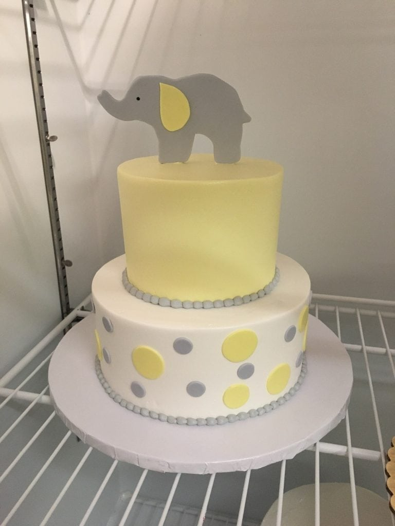 Yellow and Gray Gender Reveal Cake