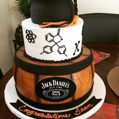 Whiskey Barrel Graduation Cake