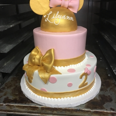 Pink and Gold Minnie Mouse Cake