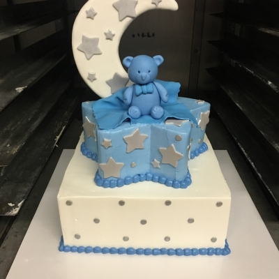Blue Stars and Moon Baby Shower Cake