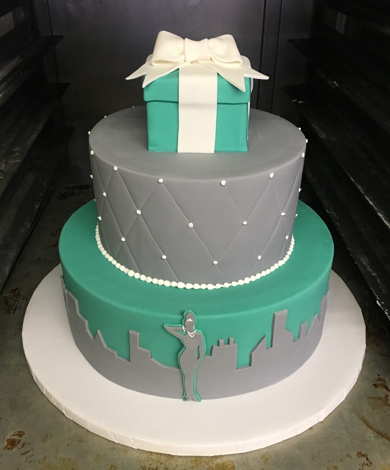 Teal and Gray Engagement Cake