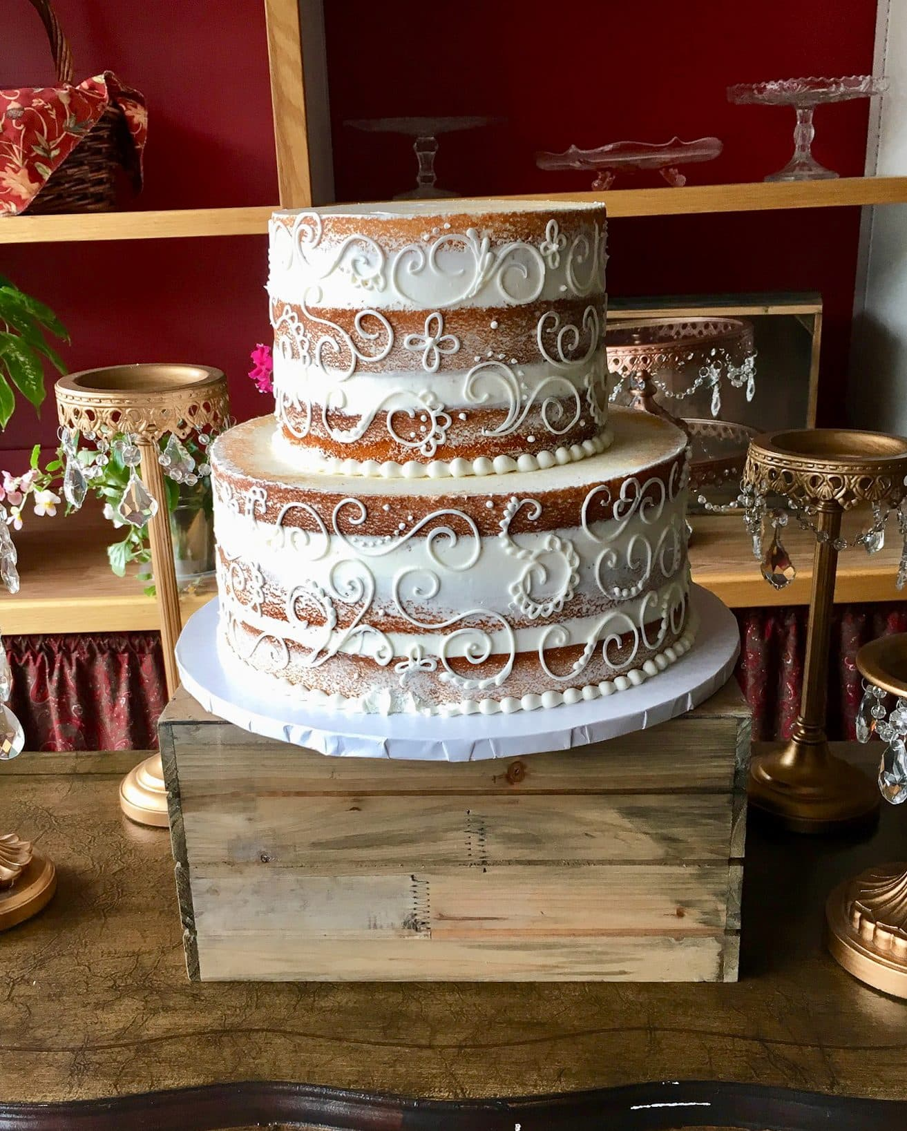 2 Tier Naked Cake with Piping