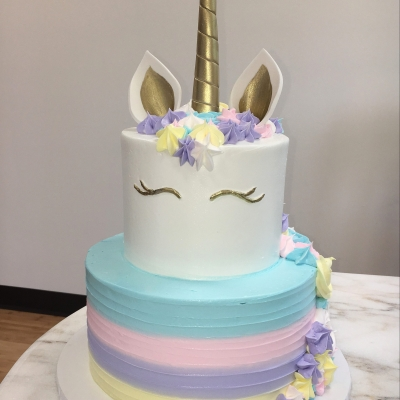 Pastel 2 Tier Unicorn Cake