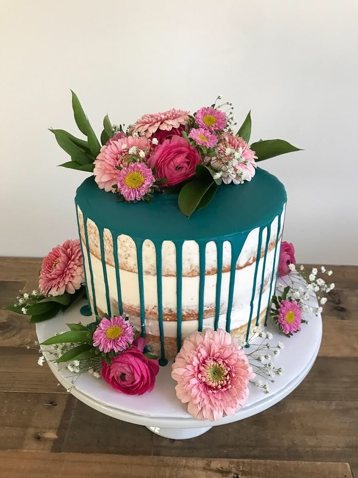 Naked Cake with Dark Teal Drip