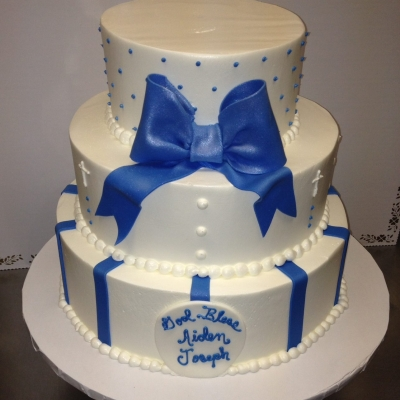 Blue Bow Baptism 3 tier