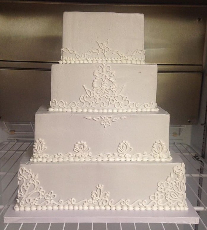 Gray and Lace Wedding Cake