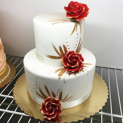 Red, Gold and White 2 Tier Cake