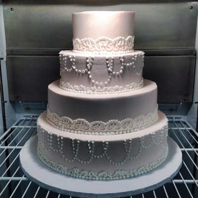 Pink and White Lace Piping