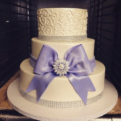 Lavender and White Shower Cake