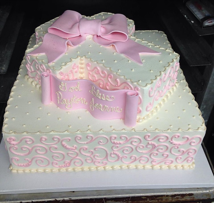 Ivory and Pink Cross Cake