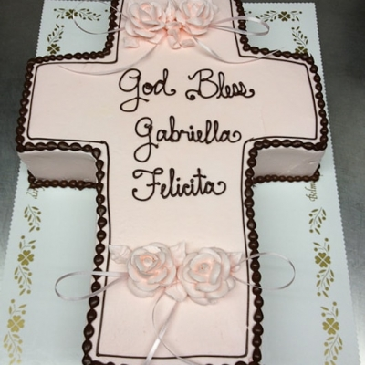 Pink Cross Cut Out Cake