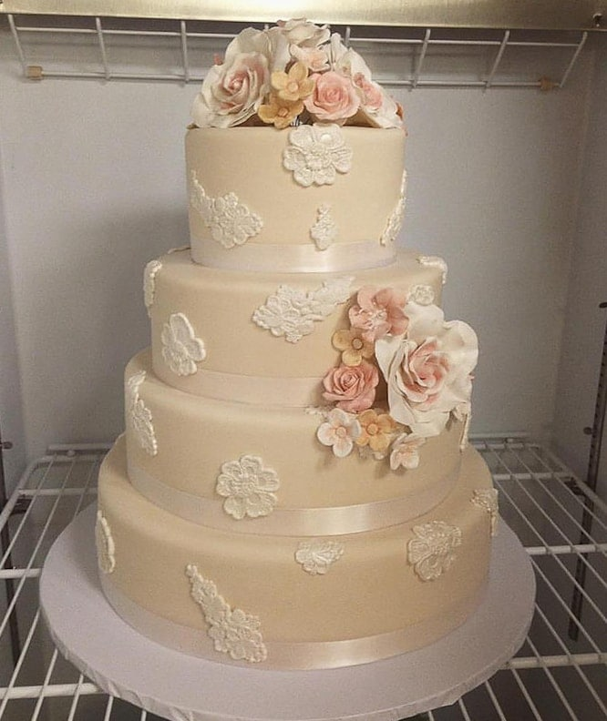 Ivory and Lace Applique Wedding Cake