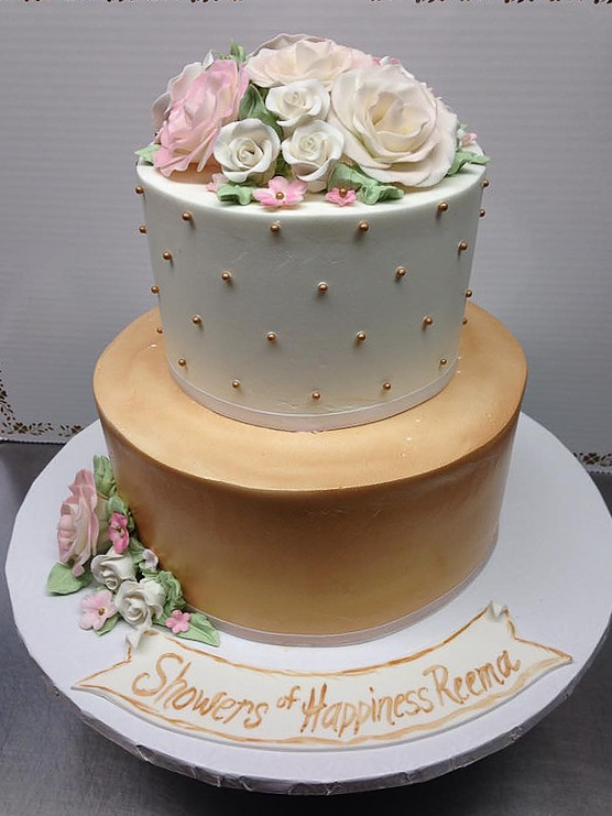 Gold and Ivory Bridal Shower Cake