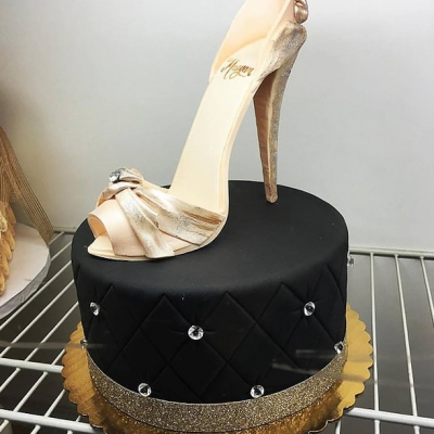 Glittery Black and Gold Shoe Cake