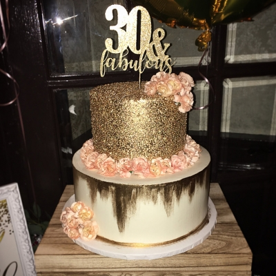 Gold and Blush 30th Birthday Cake