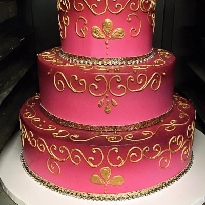 Magenta Ombre and Gold Cake