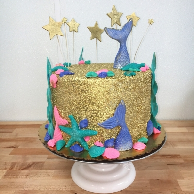 Gold Sequined Mermaid Cake