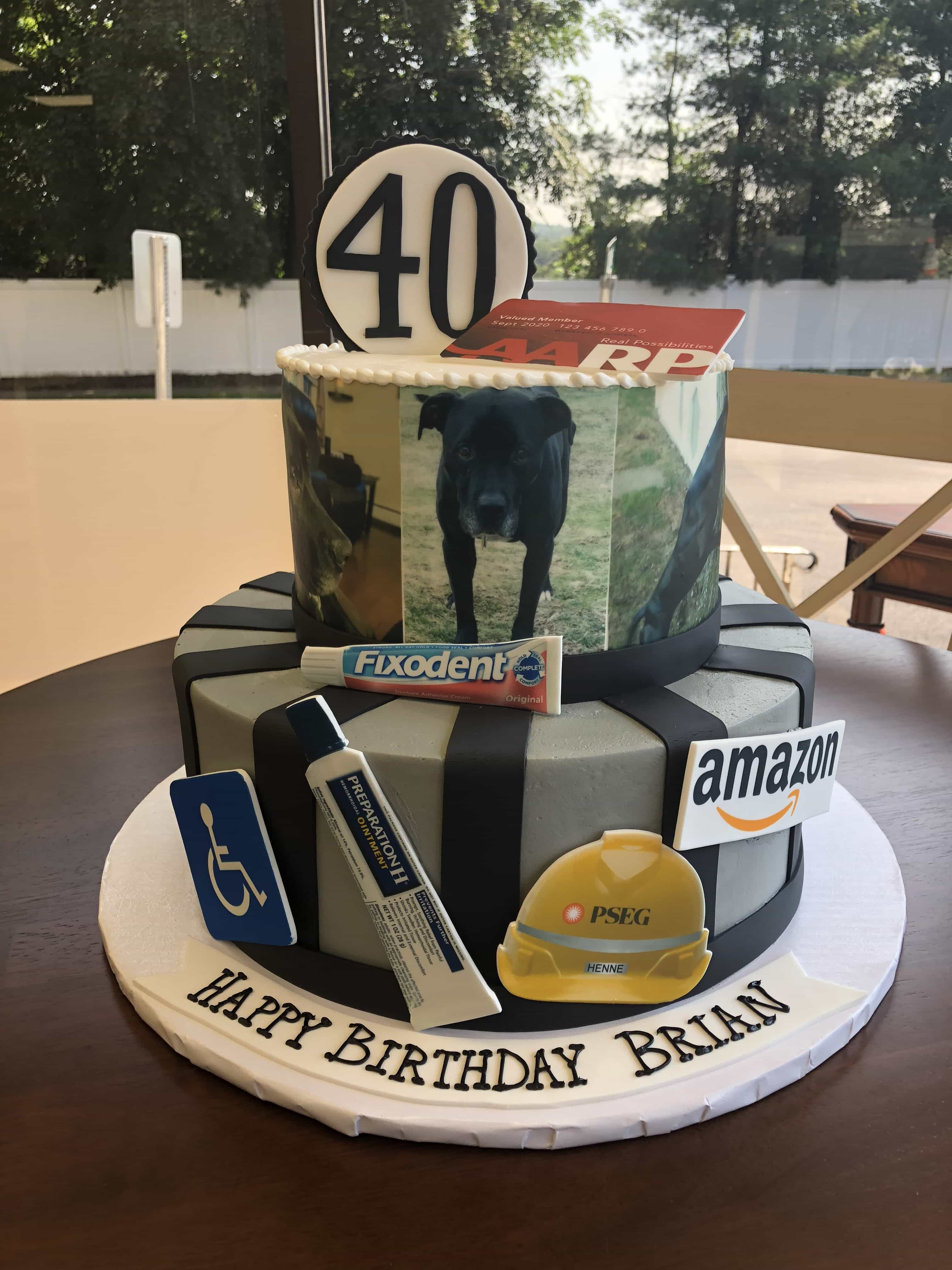 This 2 Tier Buttercream Cake For A 40th Birthday Has Edible Images Covering The Top Plus Fondant Stripes And On All Over