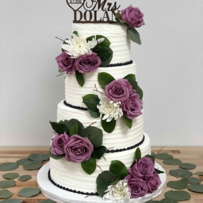 Textured Icing and Fresh Flowers