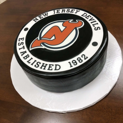 Devils Hockey Puck Groom's Cake