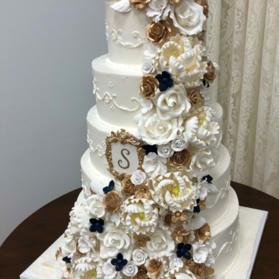Gold, White and Navy Floral Cascade