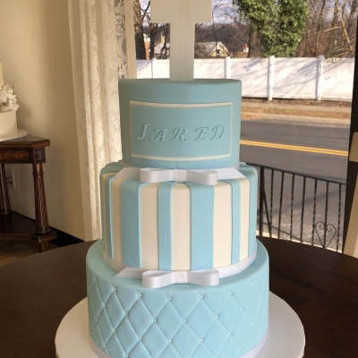 Baby Blue and White Baptism Cake