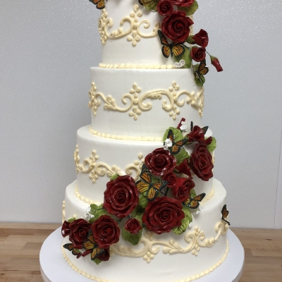 Red Roses and Butterflies Wedding Cake