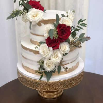 Naked Cake with Gold and Roses