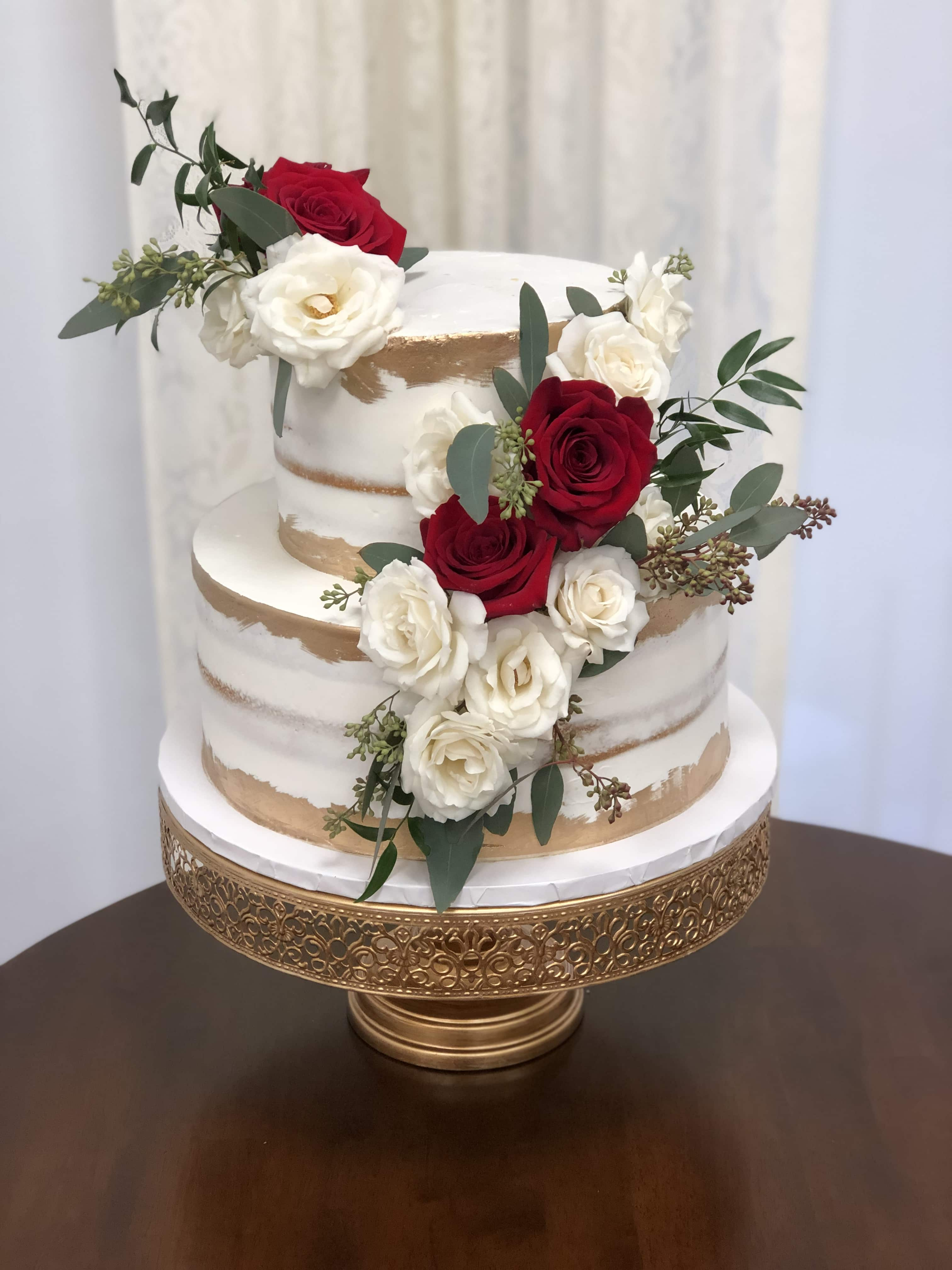 Two tier wedding cake, pink and white roses, thick