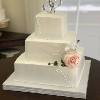 3 Tier Square Leaf Piping Wedding Cake