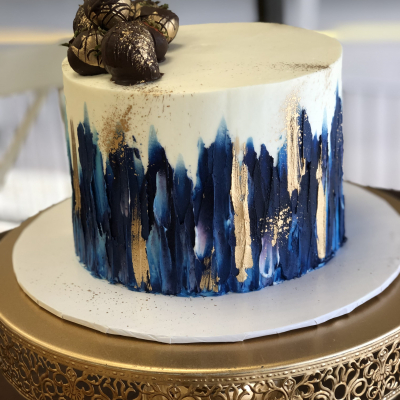 Navy and Gold Buttercream Painted Cake
