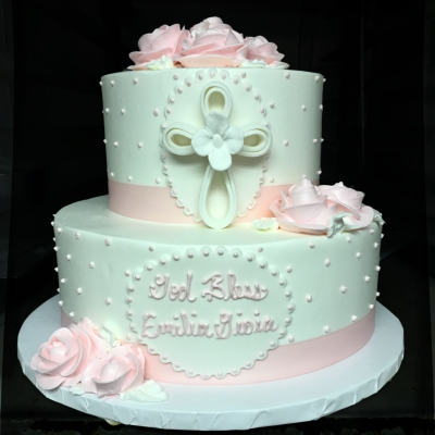 Pink and White Buttercream 2 Tier Cake