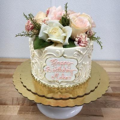 Ivory, Gold and Flowers Birthday Cake
