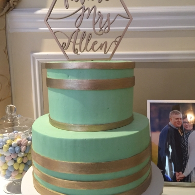 Mint Green and Gold Bridal Shower Cake