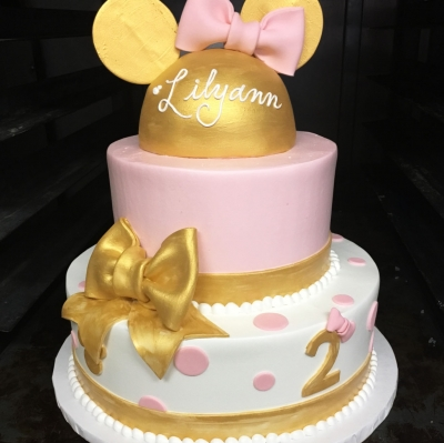 Pink, Gold and White Minnie Cake