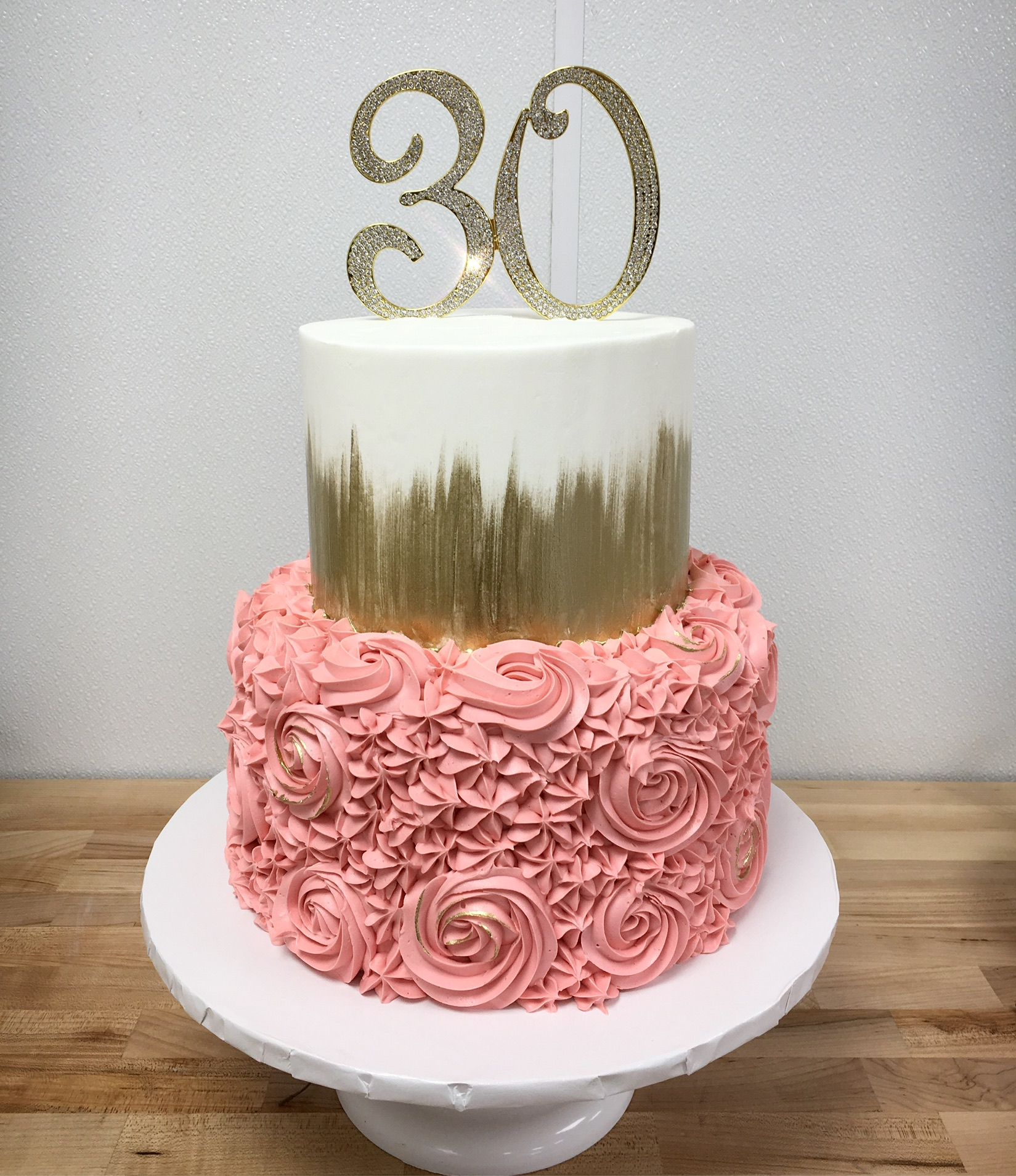Pink And Gold 30th Birthday Cake