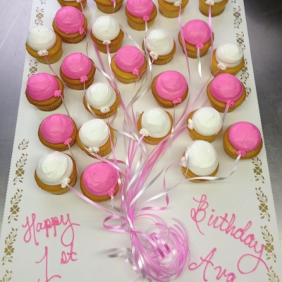 Pink and White Balloon Cupcakes