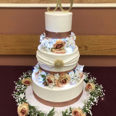 Rose Gold with Real Lights Cake