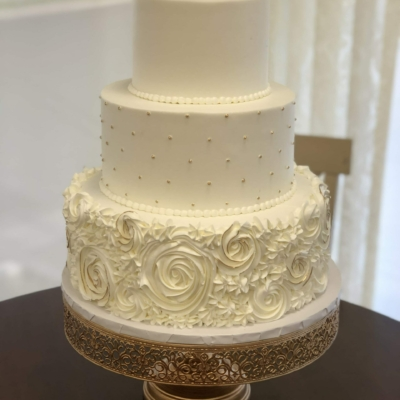 White and Gold Accents Rosette Tier Cake