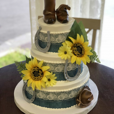 Country Denim and Lace Birthday Cake