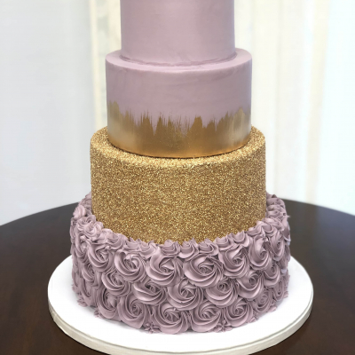 Lilac and Gold Wedding Cake