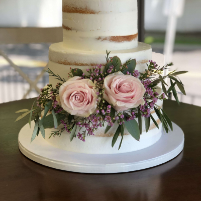 3 Tier Naked Cake Fresh Flowers