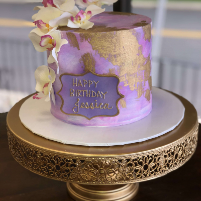 Purple and Gold Watercolor Cake