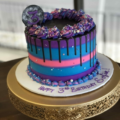 Pink Purple and Turquoise Drip Cake