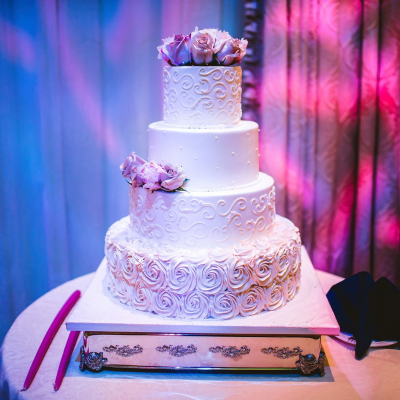 White and Ivory 4 Tier Wedding Cake
