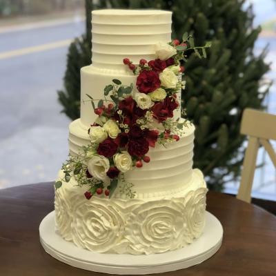Roses and Berries Wedding Cake