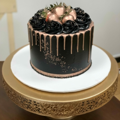 Black and Rose Gold Drip Cake