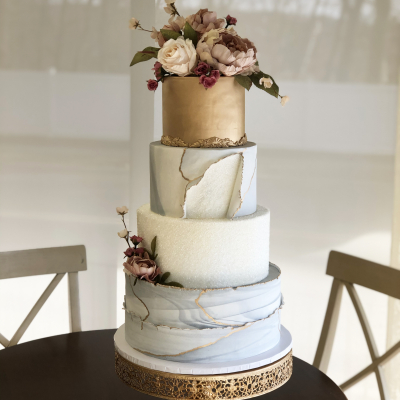 Gold, Marble and Crystal Sugar Wedding Cake