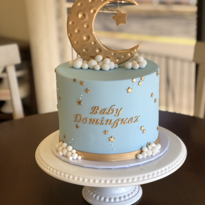 Over the Moon Baby Shower Cake
